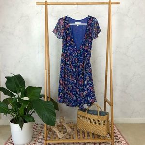 Anthropologie Blooming Sapphire Floral Wrap Dress
